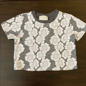 White and Gray Flower Crop Top ASO Lydia Martin